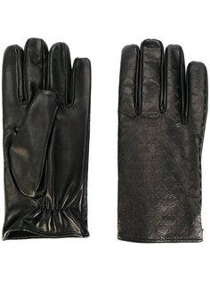 перчатки с тисненым логотипом Emporio Armani