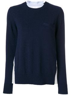 джемпер-рубашка с плиссированной отделкой  Sacai