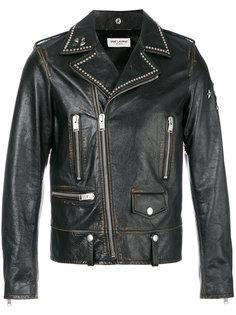 байкерская куртка с заклепками Saint Laurent