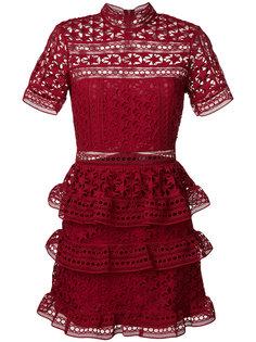 ярусное платье с оборкой  Self-Portrait