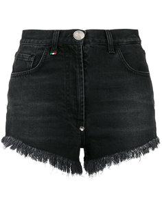 джинсовые шорты с сердцем из пайеток  Philipp Plein