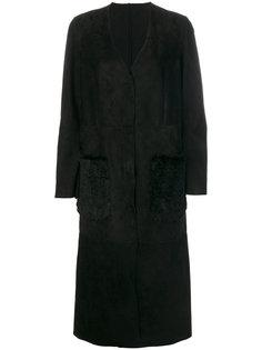 пальто с карманами из кроличьего меха Salvatore Santoro
