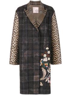 клетчатое пальто с цветочной вышивкой Antonio Marras
