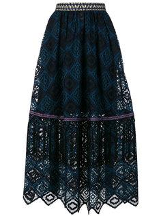 плиссированная юбка с кружевной отделкой  Miahatami