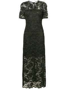 кружевное платье-макси с короткими рукавами Ganni