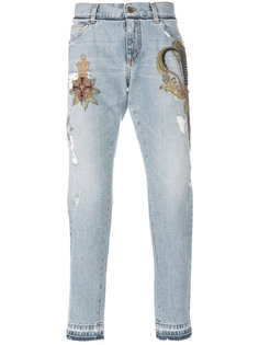 джинсы с заплаткой в виде герба Dolce & Gabbana