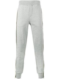 спортивные брюки с оливковыми полосками Moncler