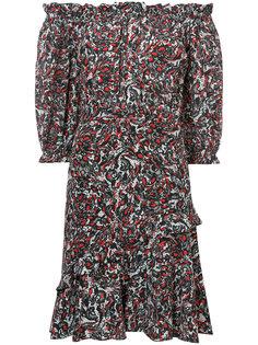 платье с цветочным узором и сборками Saloni