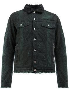 джинсовая куртка с принтом змеиной кожи Balmain
