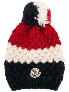 """полосатая шапка вязки """"шишечка"""" с логотипом Moncler"""