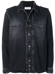 куртка в стиле милитари с эффектом потертости Saint Laurent