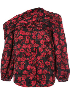 off-shoulder floral print blouse Saloni