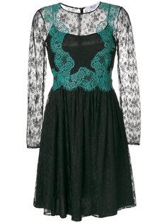 многослойное кружевное платье с цветочным узором Blugirl