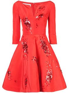расклешенное платье с пайетками Oscar de la Renta