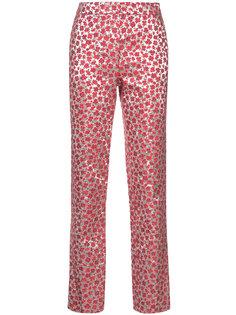 брюки с цветочным узором Oscar de la Renta