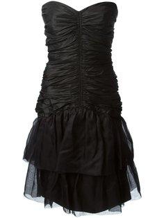 платье без бретелек со сборками Jean Louis Scherrer Vintage