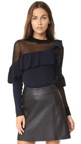 Self Portrait Asymmetric Frill Sweater