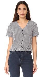 ANINE BING Striped Silk Top