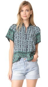 Sea Mandarin Puff Sleeve Top