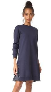 Clu Clu Too Polka Dot Ruffled Sweatshirt Dress