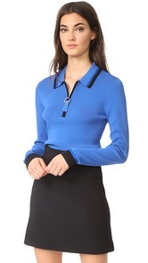 Grey Jason Wu Knit Long Sleeve Polo Shirt