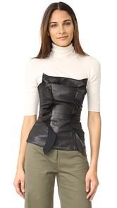 Marissa Webb Gloria Stretch Leather Strapless Top