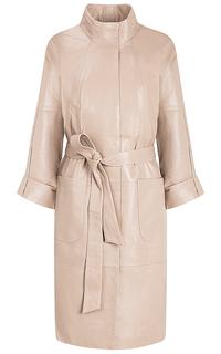 Бежевое кожаное пальто с поясом La Reine Blanche