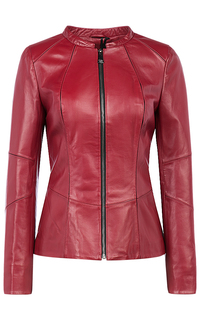 Красная кожаная куртка-жакет La Reine Blanche