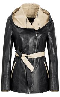 Удлиненная кожаная куртка с капюшоном La Reine Blanche
