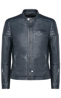 Синяя кожаная куртка на синтепоне Urban Fashion for men