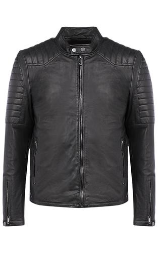 Черная кожаная куртка на синтепоне