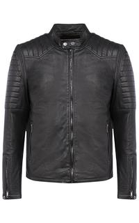 Черная кожаная куртка на синтепоне Urban Fashion for men