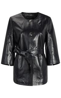 Удлиненная кожаная куртка без воротника La Reine Blanche