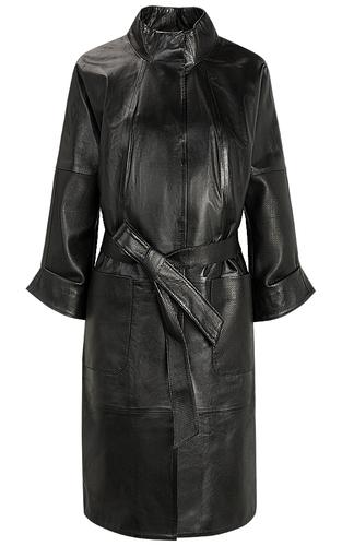 Черное кожаное пальто с поясом