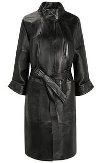 Черное кожаное пальто с поясом La Reine Blanche