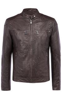Коричневая кожаная куртка на синтепоне Jorg Weber