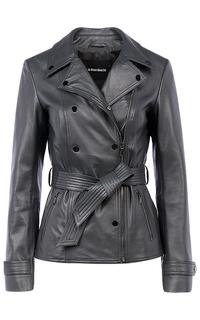 Женская кожаная куртка с поясом La Reine Blanche