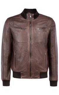 Коричневый кожаный бомбер на синтепоне Urban Fashion for men