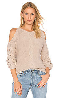 Свитер с открытыми плечами и крупной вязкой на рукавах - Autumn Cashmere