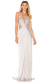 Драпированное вечернее платье с глубоким v-вырезом - Halston Heritage