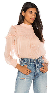 Smocked ruffle swiss dot blouse - Endless Rose