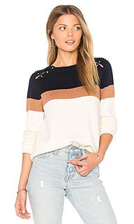 Полосатый свитер со штырьками на плечах - 525 america