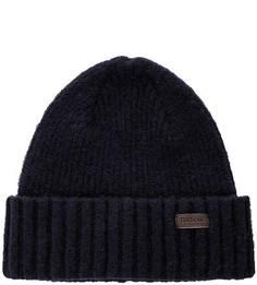 Синяя вязаная шапка Barbour