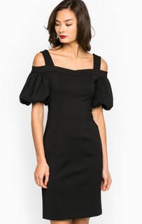 Черное платье из хлопка и полиамида с открытыми плечами Miss Sixty