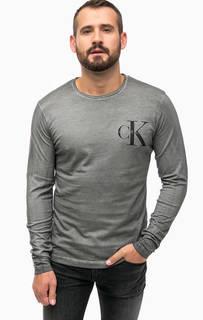 Серая хлопковая футболка с длинными рукавами Calvin Klein Jeans
