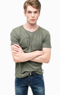 Трикотажная футболка цвета хаки Tom Tailor Denim