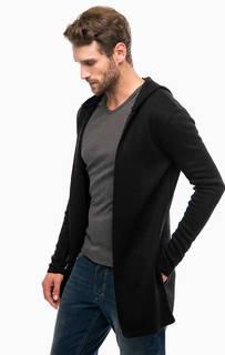 Черный трикотажный кардиган с карманами и капюшоном Mavi