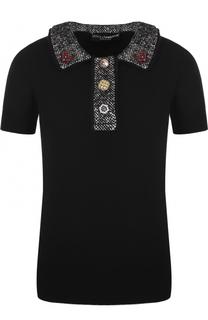 Кашемировый топ с коротким рукавом и декоративной отделкой Dolce & Gabbana