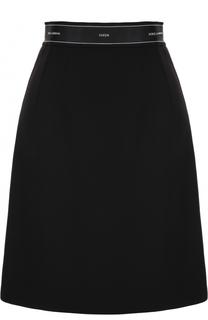 Шерстяная мини-юбка А-силуэта Dolce & Gabbana