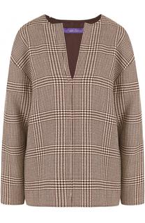 Шерстяная блуза в клетку с длинным рукавом Ralph Lauren